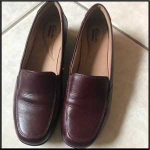 Clarks Burgundy Loafers Sz 10